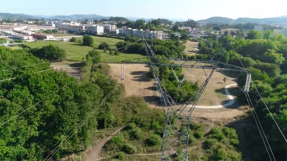 Electric Power Transmission Towers in City Park