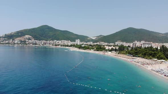 Thumbnail for Aerial View of Long Coastline of Budva City, Montenegro. Balkans, Adriatic Sea, Europe