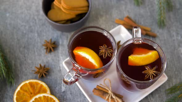 Thumbnail for Glasses of Hot Mulled Wine with Orange and Spices 21