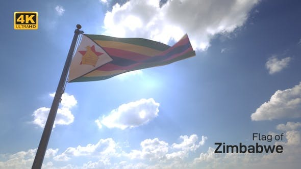 Zimbabwe Flag on a Flagpole V4 - 4K