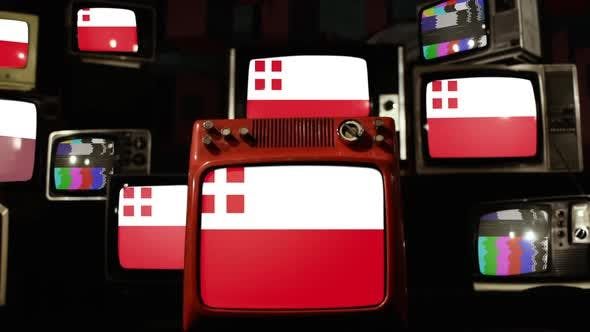 Thumbnail for Flag of Utrecht, province of the Netherlands, and Retro TVs.