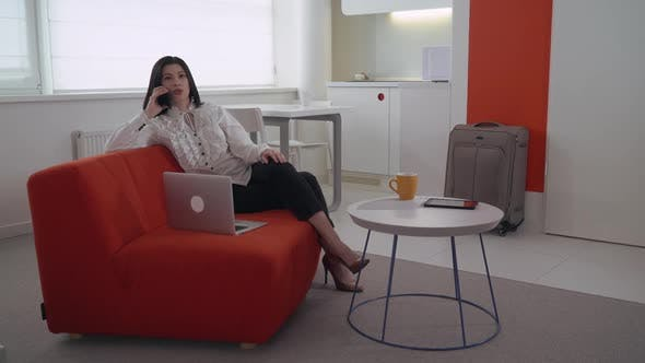 Thumbnail for Businesswoman Talking on Smartphone in Flat
