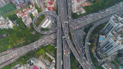 Guangzhou City and Complex Road Interchange. Guangdong, China