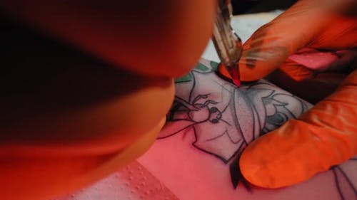 Tattoo Artist Draws a Picture on the Hand of a Young Woman, the Process of Creating a Tattoowith