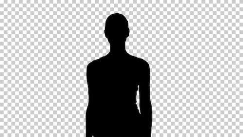 Silhouette woman walking, Alpha Channel