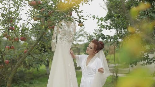 Bride in Night Gown and Veil