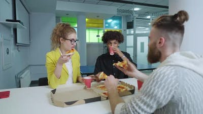 Lunch Break for Multiethnic Friends in Work Space