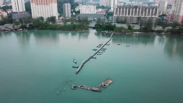 Aerial view the fisherman jetty, Jelutong