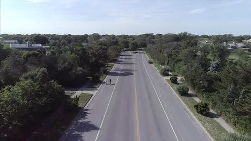 Aerial of an Empty Street in Westhampton