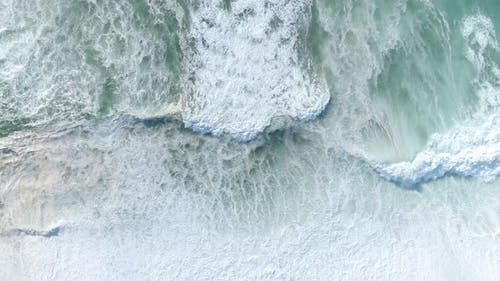Natural Abstract Pattern, Sea texture; Crushing Waves and White Foam of Atlantic Ocean