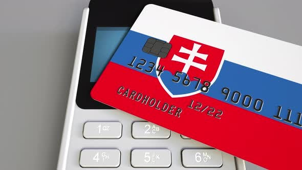 Cover Image for Plastic Card with Flag of Slovakia and POS Terminal