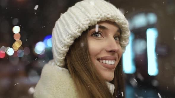 Thumbnail for Close Up of Smiling Girl Face at Night