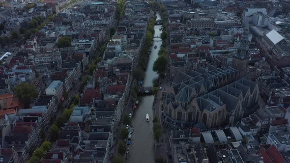 Thumbnail for Amsterdam Canal and Old Cathedral From Drone Perspective, Crane