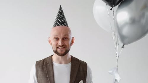 Birthday Greeting Excited Happy Man with Balloons