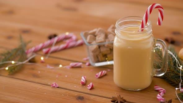 Glass Mug of Eggnog, Ingredients and Sweets
