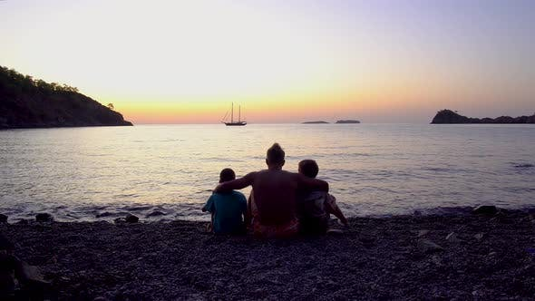 Thumbnail for Father with Children By the Sea at Dawn