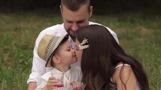 Thumbnail for Family at Picnic Kissing and Smiling.
