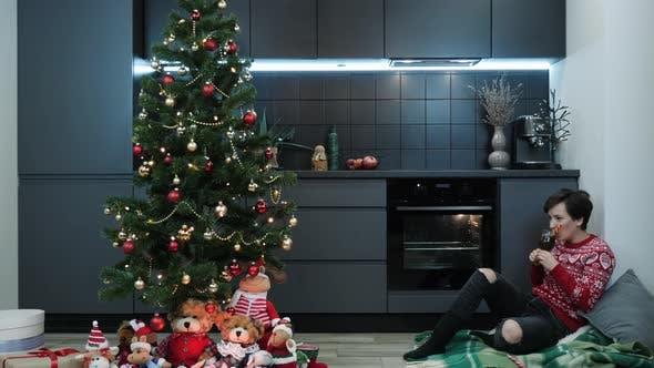 Christmas winter holiday. Woman near decorated Christmas tree