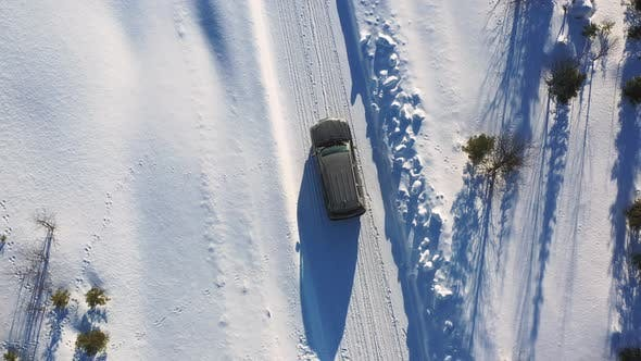 Big Offroad Car Driving In Winter