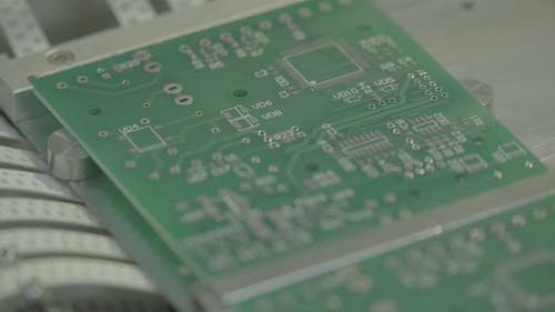 Production of Electronic Board. Close-up.