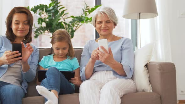 Thumbnail for Mother, Daughter and Grandmother with Gadgets