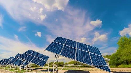 Solar panels, Power station, Blue solar panels, Alternative source of electricity