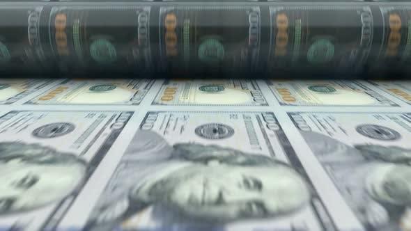 Thumbnail for USA Dollars Printing Press Machine Prints 100 USD Banknotes