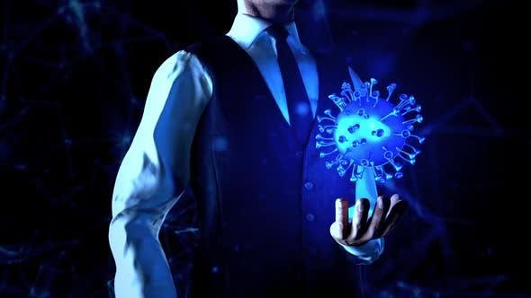 Thumbnail for Geschäftsmann hält Coronavirus-Teilchen in der linken Hand mit Plexus-Netzwerk-Verbindungsleitungen