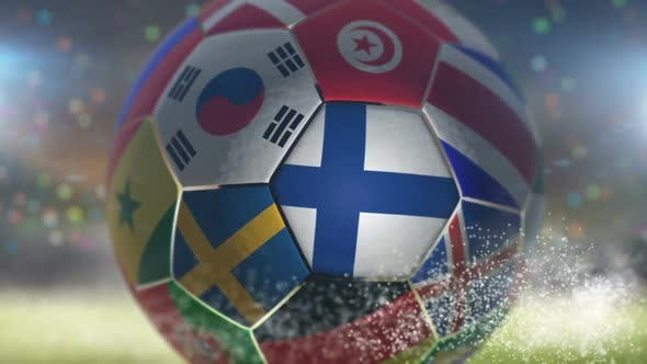 Thumbnail for Finland Flag on a Soccer Ball - Football in Stadium
