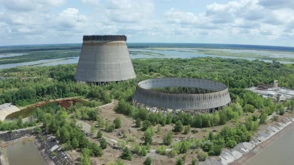 Drone View of Two Giant Cooling Towers, Chernobyl