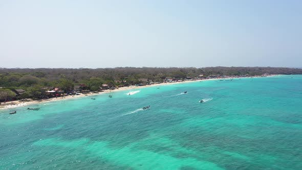 The Paradies White Sand Beach of Playa Blanca on Island Baru by Cartagena in Colombia
