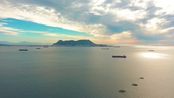 Thumbnail for Aerial View. Warships, Barges and Boats in the Sea Near the Border of Gibraltar, Spain