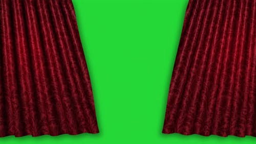 Red Velvet Theater Curtains Opening with Green Chroma Key