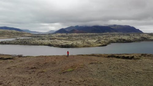 Aerial view of woman in volcanic landscape in Iceland