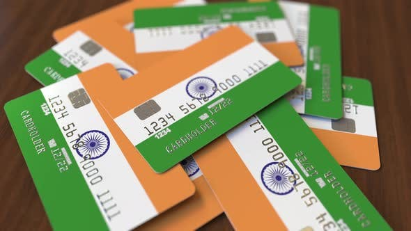 Thumbnail for Pile of Credit Cards with Flag of India