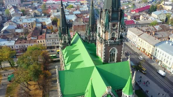 Thumbnail for Aerial Video of Saint Olga and Elizaveta Church in Central Part of Old City of Lviv, Ukraine