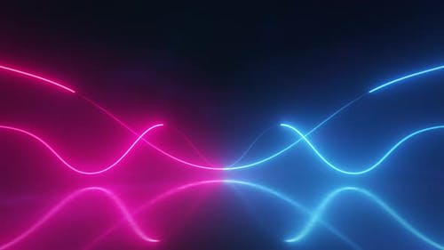 Curved Neon Glowing Strings Flowing Background