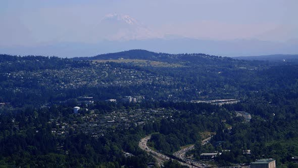 Thumbnail for Mt Rainier Helicopter Aerial Over Bellevue Washington