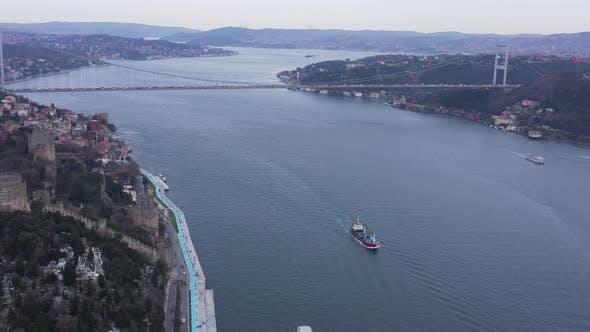 Thumbnail for Istanbul Bebek Bosphorus Bridge Aerial View