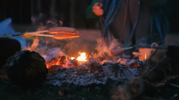 Thumbnail for People Fry Sausages on a Fire in the Woods at Night. Close-up Hands