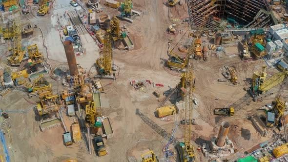 Thumbnail for Top down view of construction site in Hong Kong