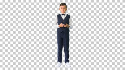 Little boy in a bow tie and waistcoat, Alpha Channel