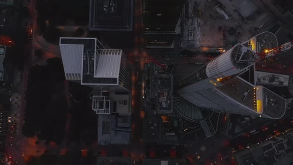 Thumbnail for AERIAL: Beautiful Rise Up Shot Between Huge Skyscrapers in European City Frankfurt Am Main with