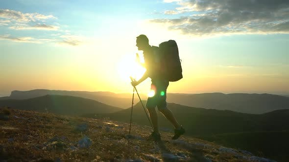 Young Male Athlete Is Hiking During Amazing Journey in Countryside on Autumn Spbd.