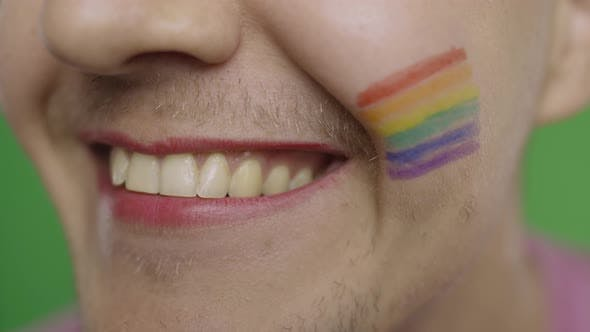 Thumbnail for Bearded Man with Painted Lips Smiling, LGBT Community. Transsexual Guy