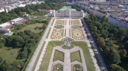 Aerial View of Belvedere Palace . Vein. Vienna. Wien. Austria