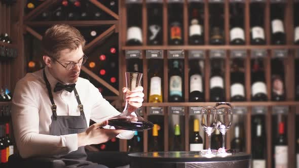 Thumbnail for Expert Decanting and Pouring Wine Into Glass. Staff Training for Sommelier