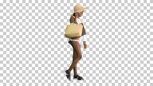 Thumbnail for Smiling african american woman in straw, Alpha Channel
