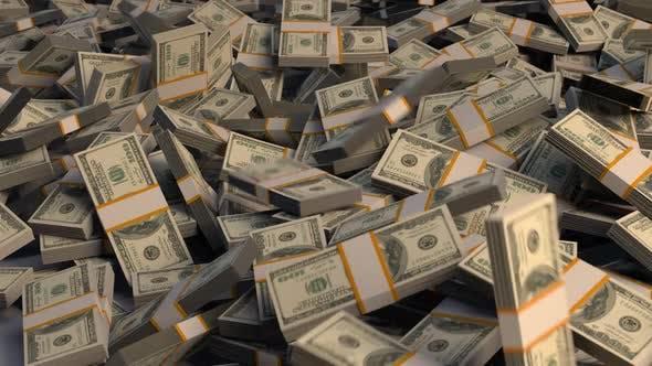Money Stacked / Dollars Falling - V1
