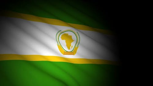 African Union Flag Blowing in Wind